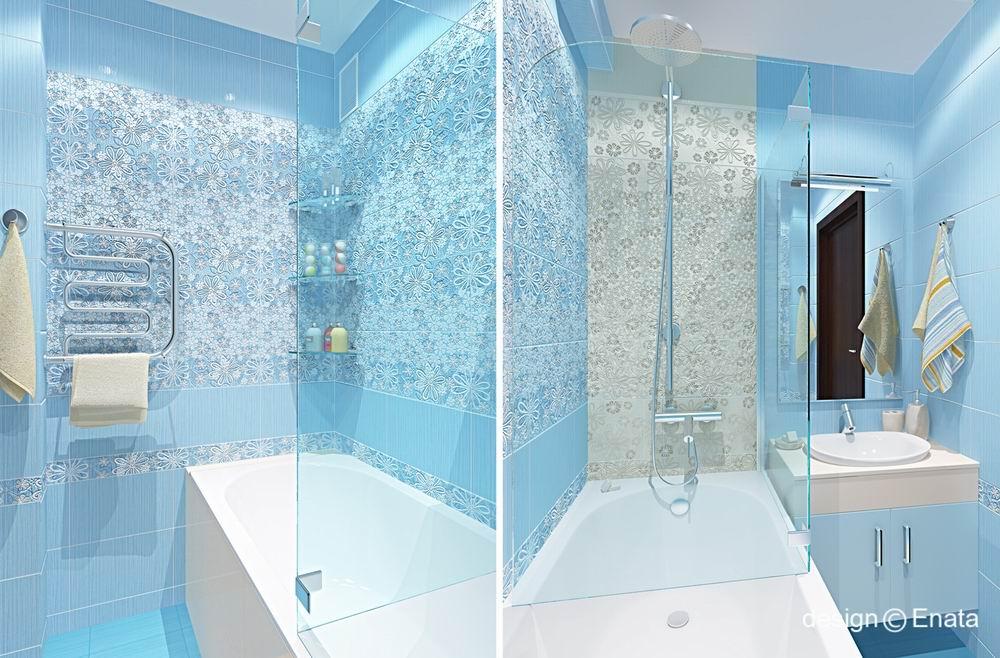 Маленькая ванная голубая комната дизайн