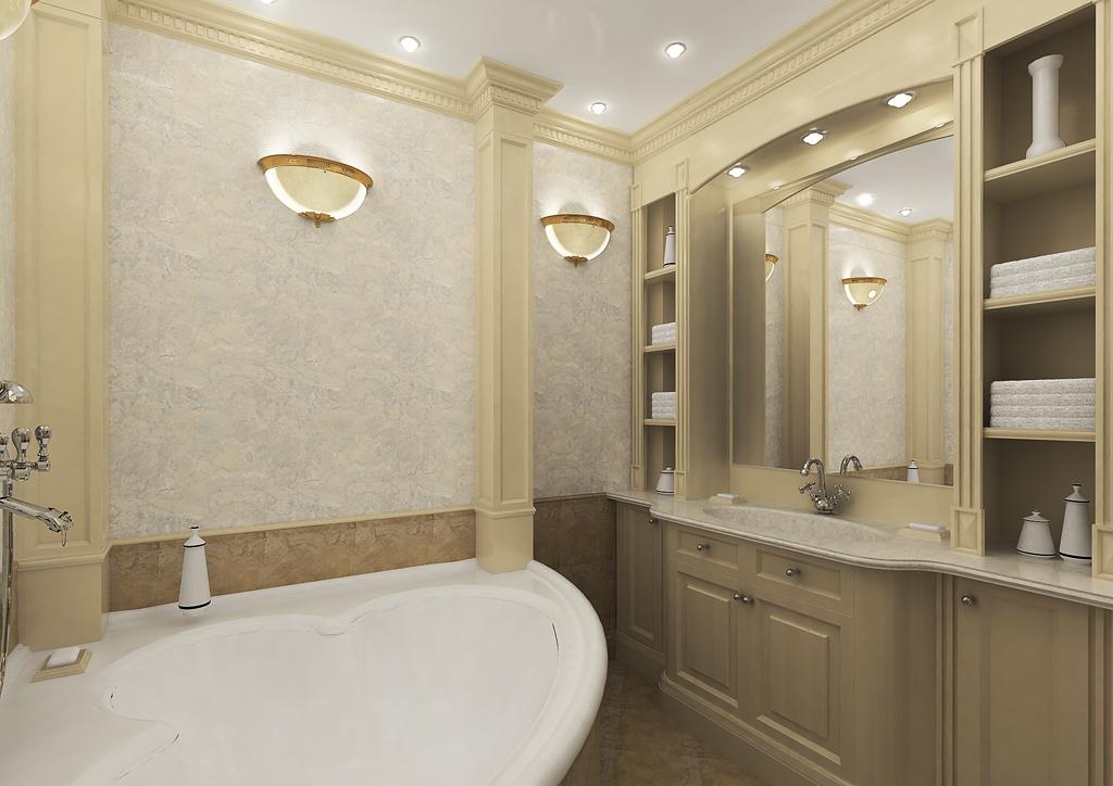Лепнина в интерьере ванной комнаты