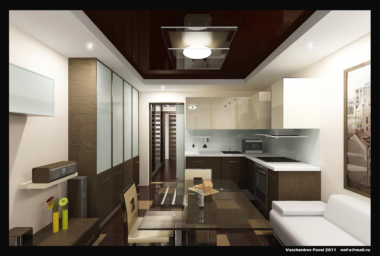 Интерьер гостиной кухни