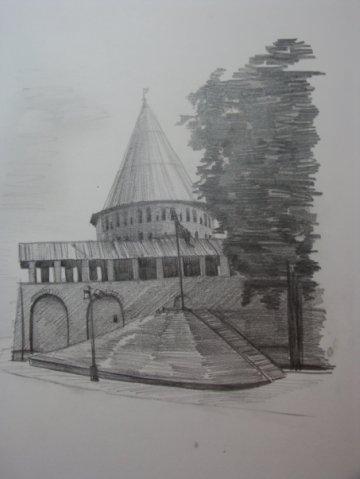 рисунки зданий карандашом: