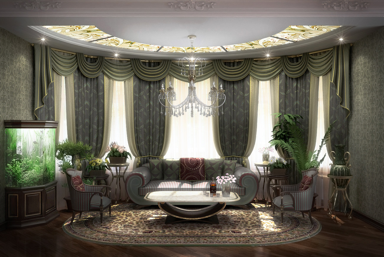 Дизайн большого зала фото