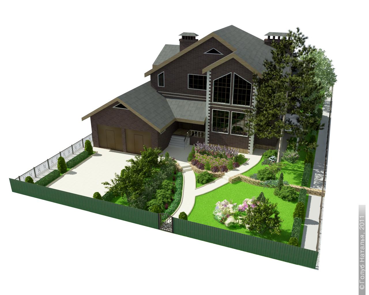 Ландшафтный дизайн двора частного дома 10 соток проекты