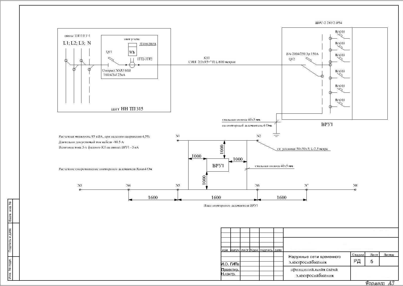 Временная схема электропитания