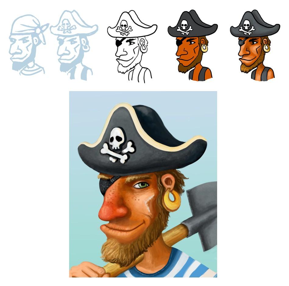 Процесс рисования пирата