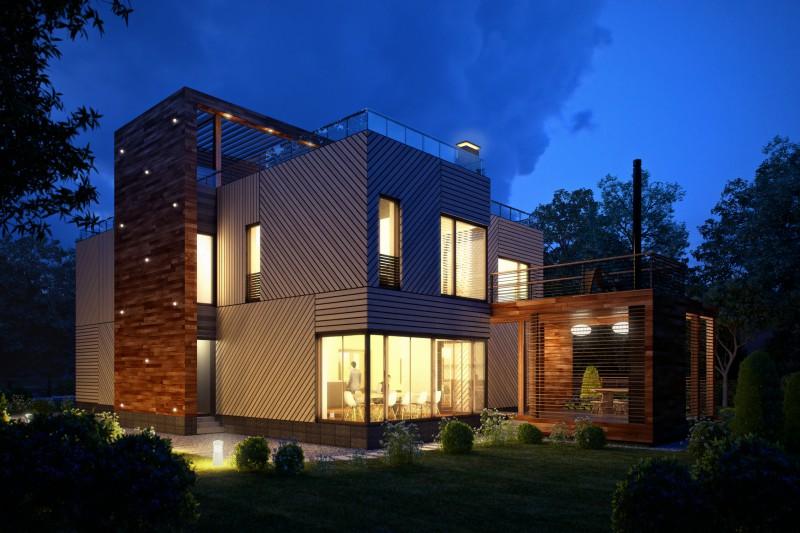 Двухэтажный дом в стиле хайтек