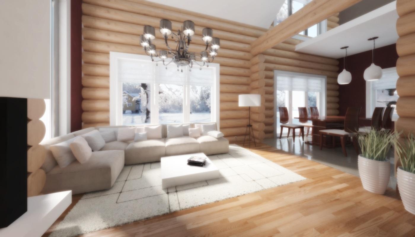 Дизайн гостиной в бревенчатом