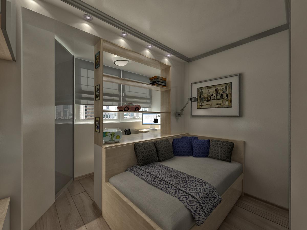 Дизайн однокомнатной квартиры совмещенной с лоджией.