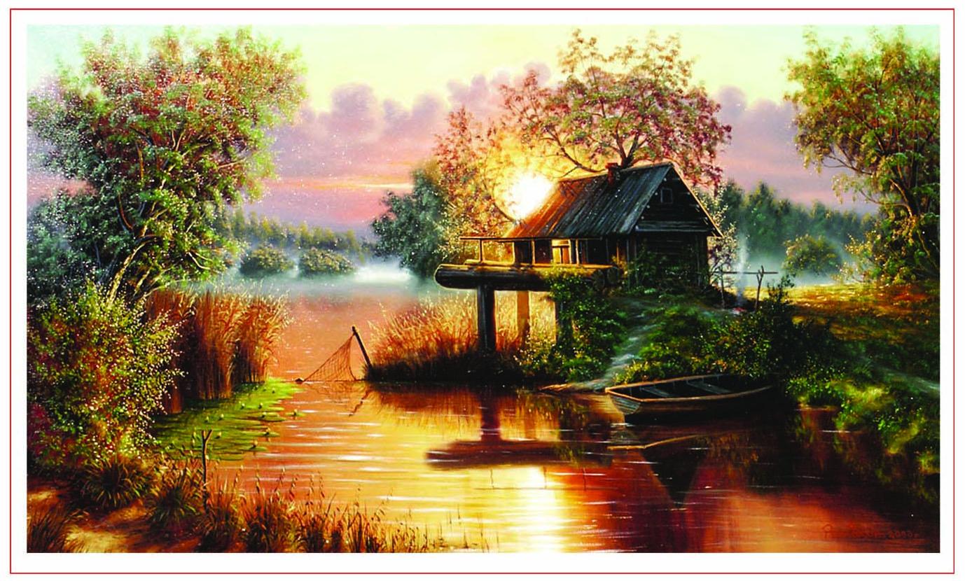стоял красивый домик в нем жили рыбаки