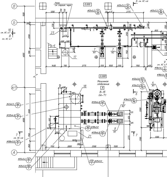 Расстановка оборудования в аммиачном компрессорном цеху.