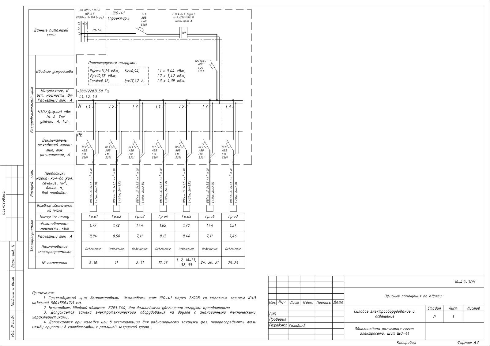 Однолинейная схема щита освещения образец