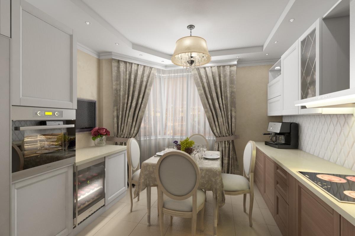 Дизайн кухни-полуэркер