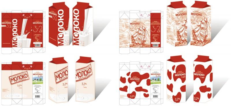 Упаковка молока дизайн молока