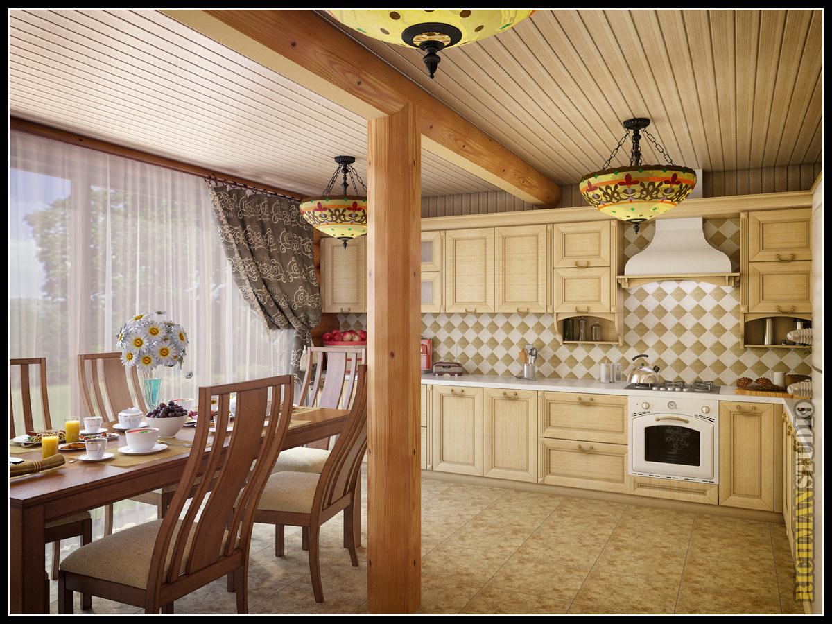 Фотографии дизайна кухни в доме из целендрованного бруса