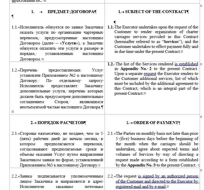 Договор перевозки на английском языке образец