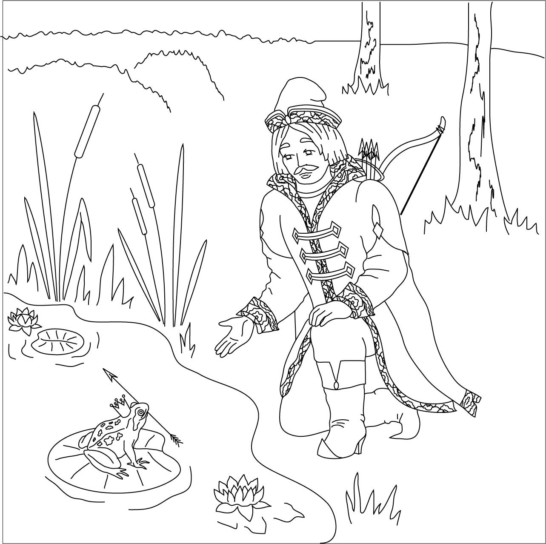 картинки раскраска царевна лягушка