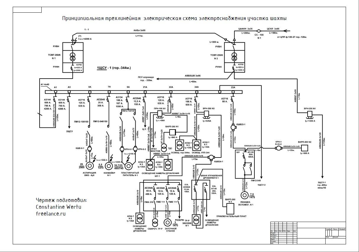 Расчет схемы электроснабжения шахт