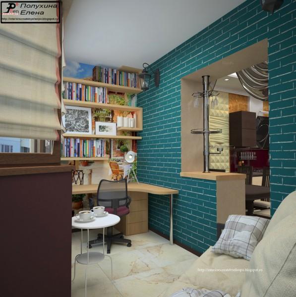 Дизайн балкона-кабинета 1 - фрилансер елена полухина art_lil.