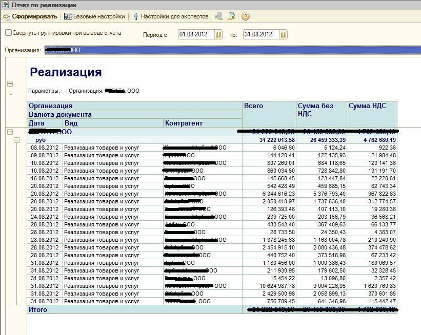 Как в 1с бухгалтерия 8.3 сделать отчет по реализации