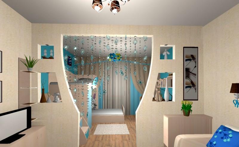 Интерьер гостиной с разделением зон фото