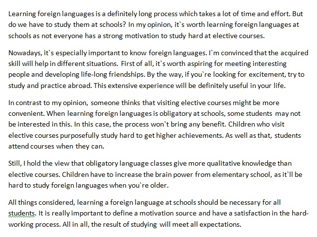 studying foreign language in high school essay Teaching foreign language gives an essay on is it good to teach a foreign language in primary school or not it discusses the positives and negatives of it some people believe that it is better for individuals to learn a foreign language in their primary schools rather than secondary schools.