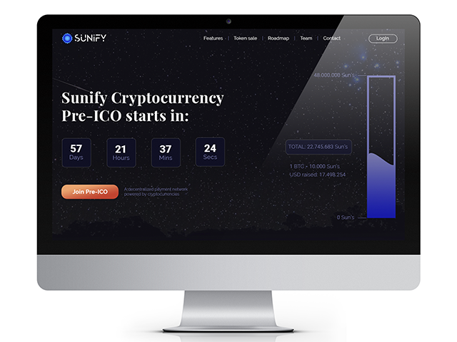 "Landing-Page for Pre-ICO ""Sunify"""